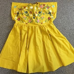 Tops - Yellow Embroidered Flare Shirt Dress